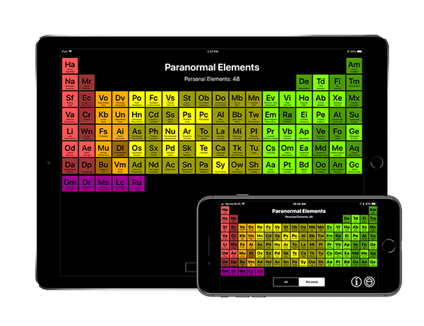 Paranormal Elements App running on an iPhone and iPad
